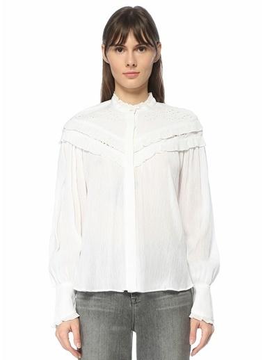 Etoile Isabel Marant Etoile Isabel Marant  Dik Yaka Fırfır Detaylı Gömlek 101550506 Beyaz